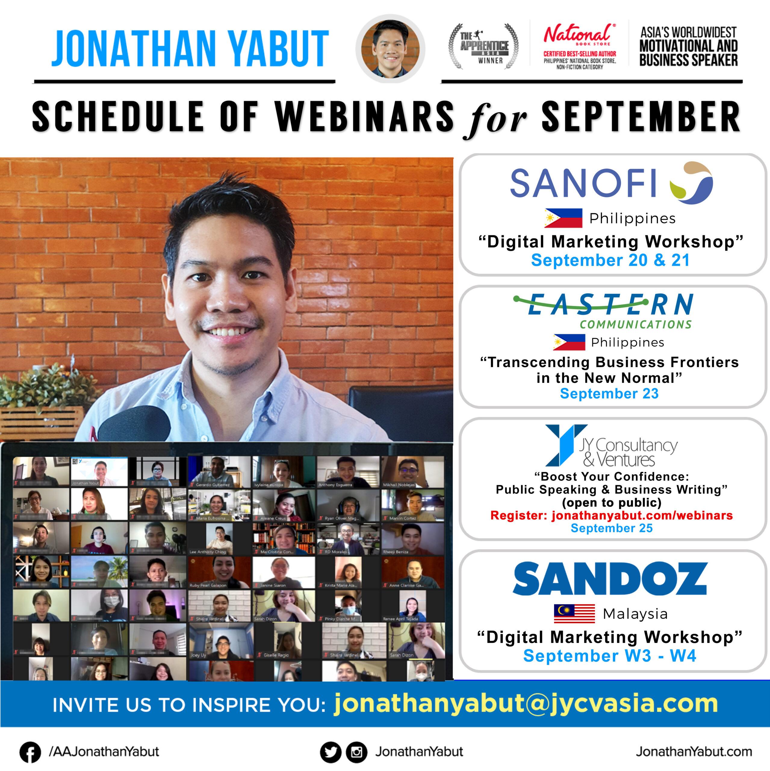 Jonathan Yabut motivational speaker asia philippines September webinars 4 IG Feed